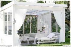 Kesäkeittiö 💜 Our summer kitchen Canopy Outdoor, Outdoor Rooms, Outdoor Gardens, Outdoor Living, Outdoor Decor, Patio Pergola, Backyard Patio, Gazebo, Summer Garden