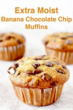 Super easy recipe for moist banana chocolate chip muffins. These muffins are made with oil making them dairy free and extra moist! #thetasteofkosher #bananamuffins #chocolatechips #breakfast #muffin #dessert #dairyfree #dairyfreedessert Moist Chocolate Chip Muffins, Moist Banana Muffins, Chocolate Chip Banana Bread, Chocolate Chip Recipes, Chocolate Banana Cupcakes, Banana And Walnut Muffins, Choc Chip Muffins Recipe, Chocolate Cake, Banana Muffin Recipe Easy