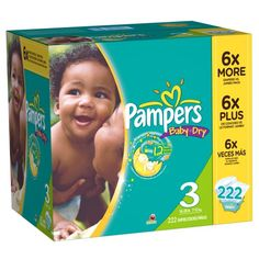 Pampers Baby Dry Diapers Size 3 Economy Pack Plus, 222 Count - Pampers Baby Dry Diapers Size 3 Economy Pack Plus, 222 Count  List Price: $53.19   Pampers Baby Dry Diapers provide up to 12 hours of overnight protection Pampers Baby Dry Diapers have 3 layers, versus only 2 in the other leading competitor Baby Dry diapers flex for a snug and comfortable fit Favorite Sesame Street characters on every Pampers Baby Dry diaper Even wider UltraAbsorb core provides outstanding leakage