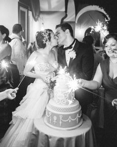 Guests waved sparklers as Michelle and Chris cut their four-tier dark-chocolate ganache cake. Wedding Music, Our Wedding, Destination Wedding, Wedding Cake, Wedding Stuff, Wedding Images, Wedding Designs, Unconventional Wedding Dress, Martha Stewart Weddings
