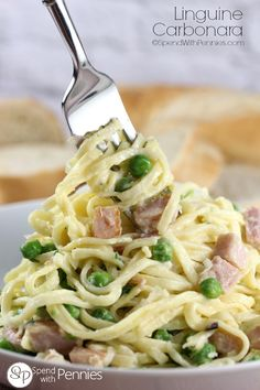 Linguine Carbonara!  This delicious meal is perfect for a busy weeknight... it takes only 15 minutes start to finish!