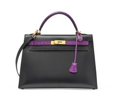 A special order bi-colour black box leather and violet crocodile Kelly bag