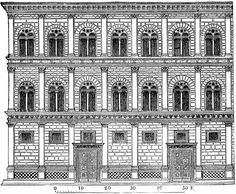 Architecture - Italy - line art Elevation Renaissance. Part of the facade of the Palazzo Rucellai at Florence. by Leon Battista Alberti During the period in which this building was constructed the architect Brunellesco died; Renaissance Architecture, Classical Architecture, Medical Illustration, Italian Renaissance, Modern History, Facade Design, Chiaroscuro, 15th Century, Art Images