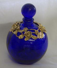 Vintage Gorgeous Cobalt Glass Perfume Bottle Silver Floral Design.