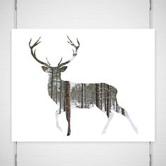 "Holiday Deer Photography / antlers silhouette print / woodland forest modern minimal fall trees snow / 11x14 photograph / ""Winter Walk"" on Etsy, $26.00"