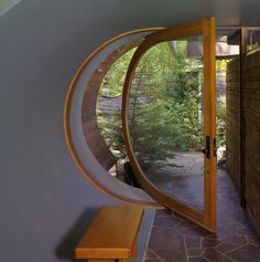 D-shaped glass door.