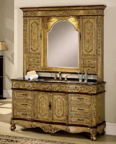 64 Inch Single Sink Bath Vanity with Marble Top, Hutch, and Faucet - Paola-64 #Traditional