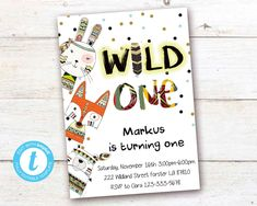 Tribal Wild One First Birthday Invitation Boho Woodland Animals Boy Party Instant Download Printable Template Editable YOU PRINT Turning One, First Birthday Invitations, Wild Ones, Woodland Animals, Party Printables, Birthday Celebration, Save Yourself, First Birthdays, Rsvp