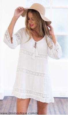 Vestido Branco Manga Longa - Vestidos | DMS Boutique