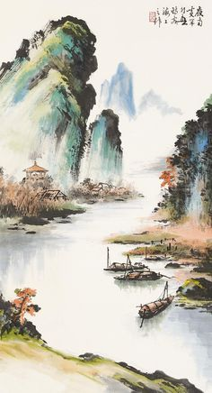 40 Deep Yet Majestic Chinese Landscape Painting Ideas Asian Landscape, Chinese Landscape Painting, Landscape Drawings, Chinese Painting, Landscape Art, Landscape Paintings, Korean Painting, Chinese Artwork, Chinese Drawings