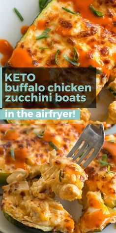 Try these Keto Buffalo Chicken Zucchini Boats packed with tangy buffalo sauce, chicken and cheese! Only 4 net carbs per serving! These zucchini boats are cooked in either an air fryer or oven for a delicious low carb meal! Air Fryer Recipes Low Carb, Air Fryer Dinner Recipes, Healthy Low Carb Recipes, Keto Recipes, Slow Cooker Recipes, Air Fryer Chicken Recipes, Air Fryer Recipes Zucchini, Air Fryer Recipes Videos, Actifry Recipes