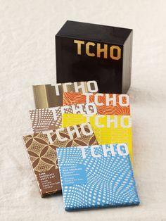 TCHO chocolate bar packaging. Love that it is a box of patterned squares.