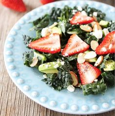 Kale, Strawberry, and Avocado Salad: an easy-to-prepare salad as you can throw these simple ingredients together in a pinch for a quick on-the-go meal or a formal sit-down dinner. For added protein, top salad with grilled chicken, shrimp or some lean, flank steak. Then, EAT!