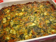 Spinach & Cheese Casserole from Food.com:   From Parade Magazine: Looks terrible but taste absolutely awesome!! Easy to make and quick to get eaten.