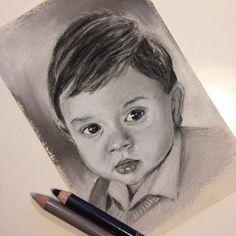 """[ARITZ] 10 x 15 cm - Tercer mini retrato listo (3 de 4). Este es mi precioso hijo, así que obviamente es el retrato que más me gusta , la foto original se la hice en su primer cumpleaños, ahora tiene 4. [ARITZ] 3.9"""" x 5.9 - Third mini portrait done (3 of 4). This is my beautiful son, so obviously, it's my favorite portrait , I made the original pic in his first birthday, now is 4."""