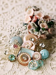 Vintage Buttons - Pink and Aqua