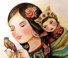madre-con-su-hijo-y-pájaro-en-las-manos