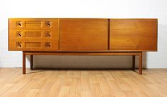Mid Century 6.5 ft Teak Credenza by Mcintosh. Long and Low. Danish Inspired. MCM. Vintage on Etsy, $1,695.00