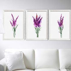 Lavender Flower Wall Art Prints Set 3. Blue Lavender Painting. Abstract Flower Watercolor Painting. Minimalist Art. Dining Room Decor Herbs Kitchen Decor. PLEASENOTE !! All my drawings are made on watercolor paper of museum quality. I guarantee that I paint all the paintings