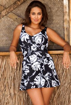Beach Belle Black Plus Size V neck Swimdress