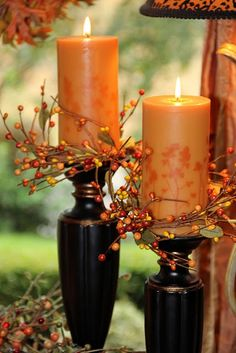 fall candles.... To change the theme with the holiday or season... change the color of the candle.. change the scent of the candle!... add a little touch of seasonal trim. This is a perfect example of candles for the seasons.