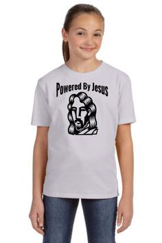 Powered By Jesus Christian T-Shirt designs from www.gobshoppers.com are created in our www.abqcustomtshirt.com design studio. by GOBSHOPPERS on Etsy