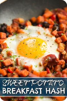 Start your day the right way with this simple and delicious Sweet Potato Breakfast Hash Beautiful hearty ingredients and absolutely packed with flavour sweetpotato sweetpotatohash breakfast eggs brunch # Sweet Potato Breakfast Hash, Breakfast Desayunos, Breakfast Potatoes, Breakfast Skillet, Breakfast Recipes With Eggs, Breakfast Ideas With Eggs, Sweet Potato Risotto, Chorizo Breakfast, Healthy Egg Breakfast