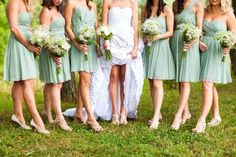 mint bridesmaid dresses, I think the color would go well with a Champagne wedding theme