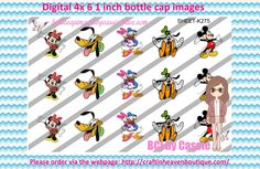 1' Bottle caps (4x6) digital Mickey and Friends K275   PLEASE VISIT http://craftinheavenboutique.com/AND USE COUPON CODE thankyou25 FOR 25% OFF YOUR FIRST ORDER OVER $10! #bottlecap #BCI #shrinkydinkimages #bowcenters #hairbows #bowmaking #ironon #printables #printyourself #digitaltransfer #doityourself #transfer #ribbongraphics #ribbon #shirtprint #tshirt #digitalart #diy #digital #graphicdesign please purchase via link http://craftinheavenboutique.com