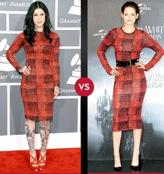Kat Von D and Kristen Stewart both wore red plaid dresses. Who Wore it Best?