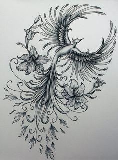Phoenix original art example of jennifermckayhiggins - Tatoo. Piercings, Piercing Tattoo, I Tattoo, Tattoo Bird, Tattoo Thigh, Yakuza Tattoo, Lotus Tattoo, Tattoo Motive, Tattoo Drawings