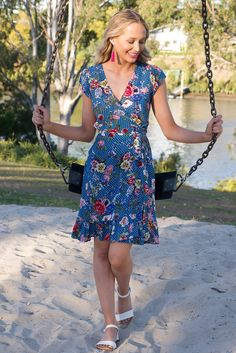 Paradise Wrap Dress with cap sleeve in a retro inspired spot and floral sky blue print Ootd Fashion, New Fashion, Fashion Outfits, Australian Boutique, Mombasa, Rose Boutique, Wander, Cap Sleeves, Outfit Of The Day