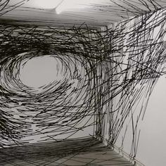 Miles and miles of sticky tape by Monika Grzymala. Grzymala applies adhesive tape directly to gallery walls to create three-dimensional drawings