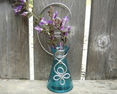 Teal Hanging Wall Vase  Mother's Day Gift by nicholasandfelice