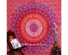 Red Hippie Mandala Peacock Round Wall #Tapestry Bedding for Home Decor, This is a screen printed beach tapestry, Completely Handmade. #bedspread #beachthrow #mandala #wallhanging #hippie