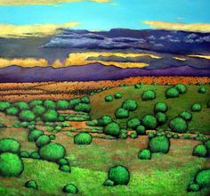 Desert Rainfall. Storm clouds over the desert outside of Santa Fe, New Mexico. Acrylic on canvas painting by artist Johnathan Harris.