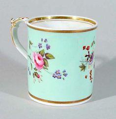 4:00 Tea...Derby porcelain polychrome tankard...aqua with three bouquets of flowers and gold gilt, Circa 1800.