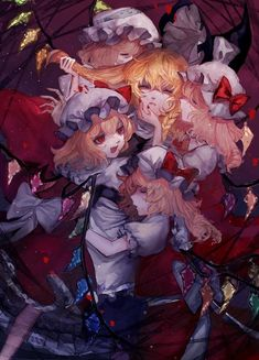 Marisa x Flandre Cartoon Drawings, Cute Drawings, Video Game Anime, Dark Fantasy Art, Kawaii Girl, Character Illustration, Character Concept, Cool Artwork, Cute Art