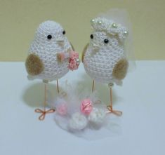 Personalized Birds Wedding Decoration Custom by MAVECROCHET available at https://www.etsy.com/listing/208395997/blush-pink-wedding-cake-topper-love?ref=shop_home_active_1
