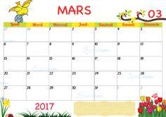 calendrier de mars 2017 à imprimer