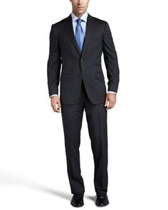 Multiseason+Two-Button+Suit,+Gray+by+Ermenegildo+Zegna+at+Neiman+Marcus.
