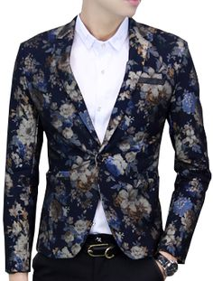 Slim Fit Tailored Navy Blue Floral Velvet Blazer