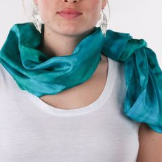 Infinity turquoise silk scarf / blue and green by CeliaEtcetera