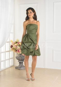 Strapless Knee-length Satin Bridesmaid Dress Style BD80750 $206.99 Green Bridesmaid Dresses