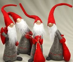 DIY Scandinavian Inspired Winter Gnomes Felt Sculptures/Plushies? (Inspiration Only. No Pattern or Instructions.)