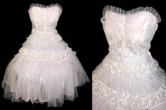 Vintage 1950's Large Pale Pink Tulle Lace Formal by RedHeadVtg, $150.00