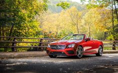 Convertible, Mercedes-Benz E-Class, red car