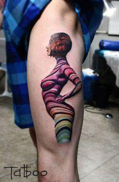 Valentina Ryabova tattoo woman naked shadow colour