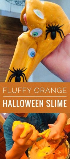 Fluffy Orange Halloween Slime is a fun and easy activity to with kids! It's a great rainy day activity and such a simple slime recipe. Rainy Day Activities, Halloween Activities, Children Activities, Indoor Activities, Sensory Activities, Sensory Play, Summer Activities, Family Activities, Halloween School Treats