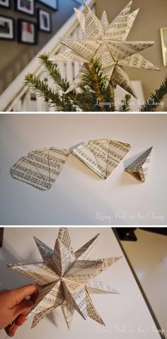 Awesome DIY Christmas Tree Topper Ideas & TutorialsTree toppers are a staple in any Christmas home decor. They take many forms such as starbursts rosettes bows Santa hats but the most common ones . Diy Christmas Decorations, Diy Christmas Star, Diy Tree Topper, Christmas Tree Star Topper, Star Tree Topper, Diy Christmas Ornaments, Xmas Tree, Christmas Projects, Holiday Crafts